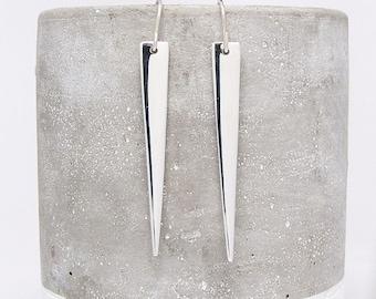 Silver Spike Earrings - Silver Earring - Long Triangle Earrings - Dangle Earrings