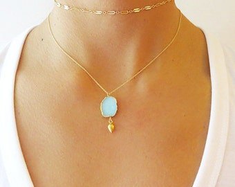 Aqua Druzy Gold Dangle Necklace - Druzy Necklace - Druzy Jewelry - Mother's Day Gift