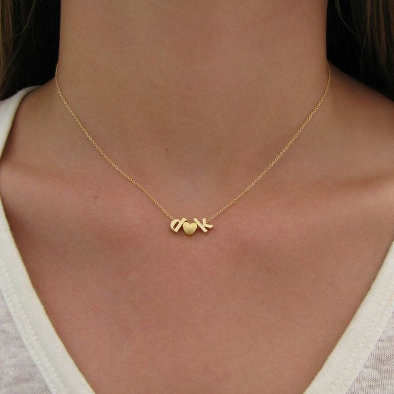 2 Gold Initial & Heart Charm Necklace  Initial Necklace  image 0