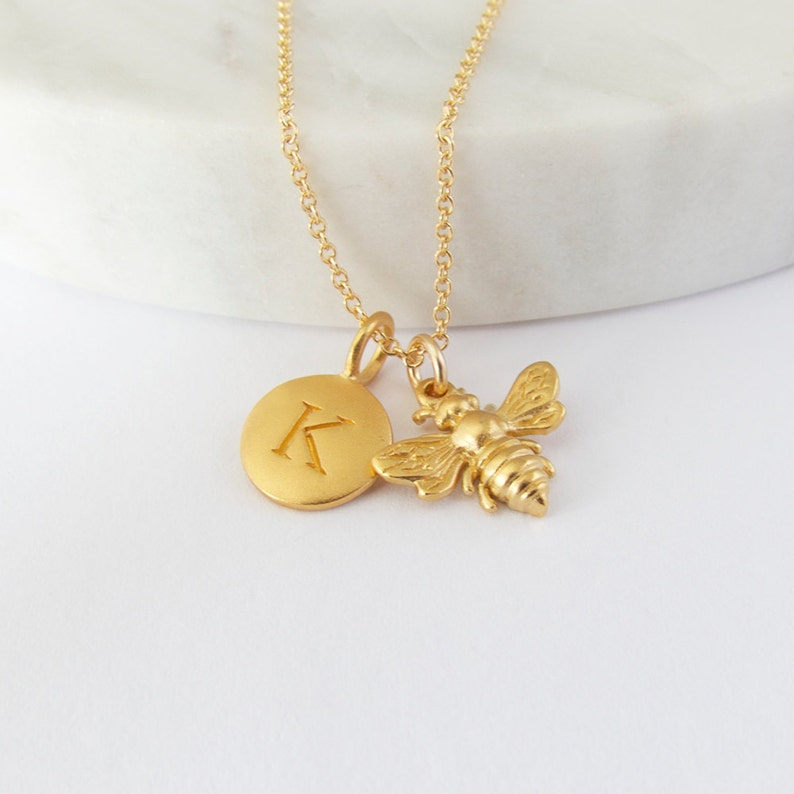 Bee and Initial Charm Necklace  Bee charm  Honeybee Pendant image 0
