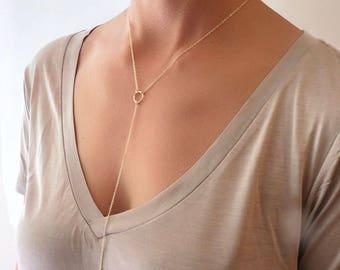 Gold Lariat Necklace - Lariat Necklace - Lariat Jewelry - Y Necklace