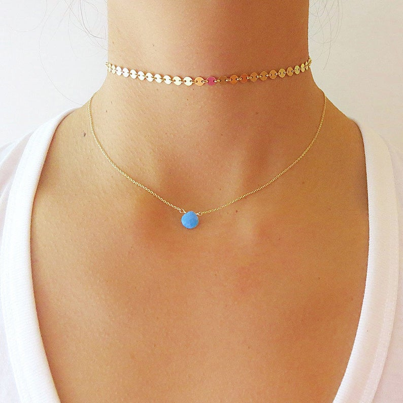 Choker Jewelry Dainty Coin Necklace Silver Choker Necklace Gold Coin Choker Necklace