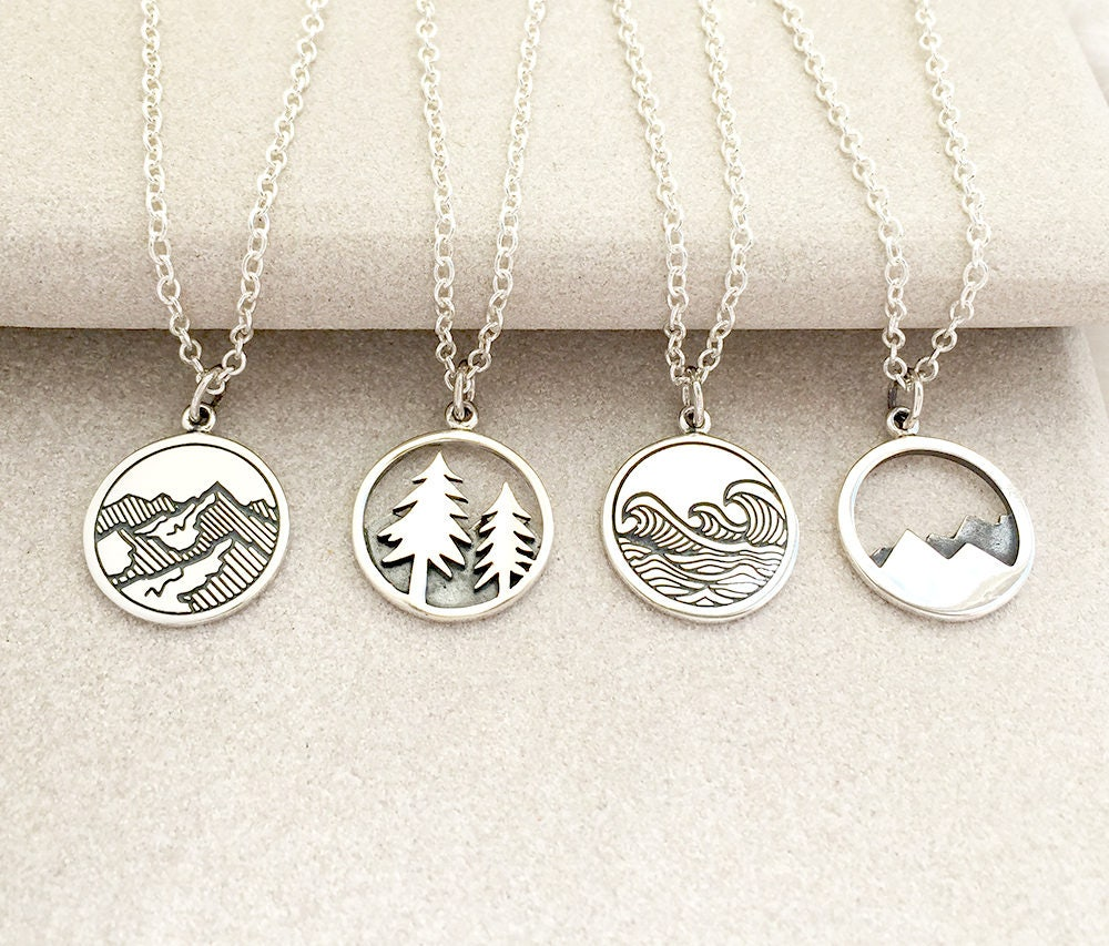mountain pendant necklace silver necklace outdoors jewelry. Black Bedroom Furniture Sets. Home Design Ideas