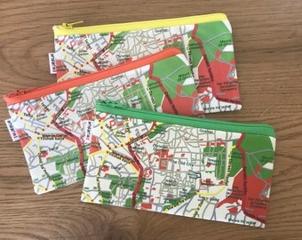 JERUSALEM map pencil case zipper pouch clutch - a souvenir from Israel the holy land for men for woman gift idea