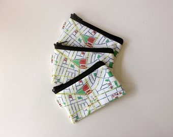 Tel Aviv Map Wallet , a souvenir from Israel with the streets of Tel Aviv in hebrew , zipper coin purse wallet Love and support Israel