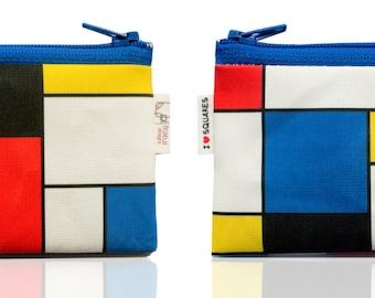 Mondrian Inspired Coin Purse, Zipper Pouch, Red Blue Yellow Squares, Men's Wallet, Wallet Women, Gift Idea, Art Lover Gift, Christmas gift