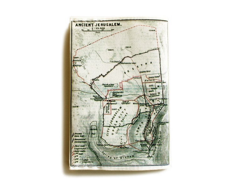 Jerusalem Map Passport Cover printed with the map of ancient | Etsy