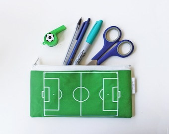 Football Field Pencil Case, Soccer Field Zipper Pouch, Kid's Pencil Case, Back to School, Sport Lover Gift, Student Gift Idea, Gift for Kids