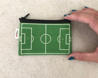 Football Field, Soccer Field Zipper Pouch, Coin Purse for change and cards, Playing ball, Green grass, field shaped coin purse, gift for him
