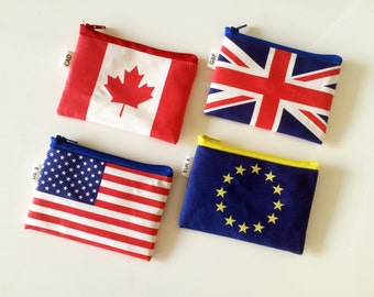 Flag Coin Purse, Zipper Travel Purse, Travel Wallet With Zipper, Wallet For Coins And Bills, US Dollars, GB Pounds, European Euros and more.