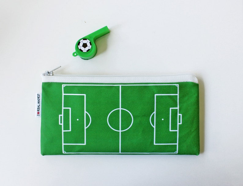 Sport Lover Gift Football Field Pencil Case Soccer Field Zipper Pouch Back to School Gift for Kids Student Gift Idea Kid/'s Pencil Case