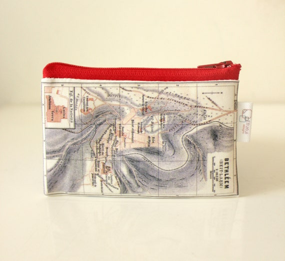 Womens wallet, mens wallet, zipper pouch, printed with the map of ancient  Israel, with red zipper - now on sale
