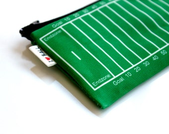 Football field super bowl printed wallet design - playing ball green grass field coin purse for change and credit cards card holder