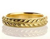 Grecian Leaf Design Wedding Band, Gold Wedding Ring, Infinity Band, Filigree, Handmade No 4