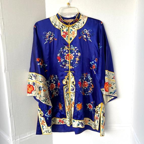 Vintage Embroidered Royal Blue Chinese Silk Pajama