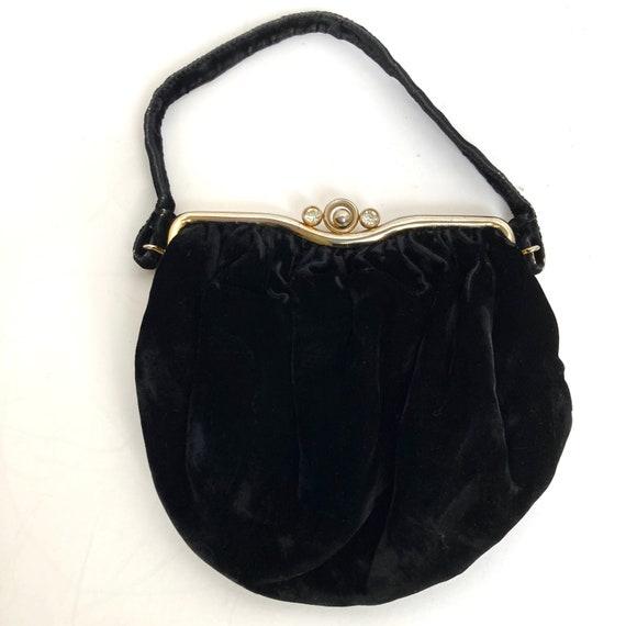 Vintage 1930's Silk Velvet Handbag w/Rhinestone Cl