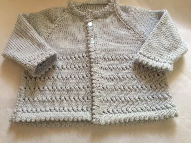 e1bc8e92a Baby Boy Sweater   Jacket - Italian Merino Hand Knit Vintage Style Baby  Matinee Jacket   Sweater 3 - 6 months. Hand knitted in Scotland