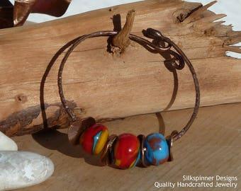Lampwork Bead and Copper Bangle Bracelet
