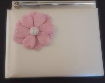 Guest Book Platinum Color with Silver Pen Pale Pink Mum Choose Flower Color