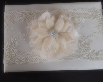 Wedding Guest Book Ivory Lace Aster Choose Flower Color