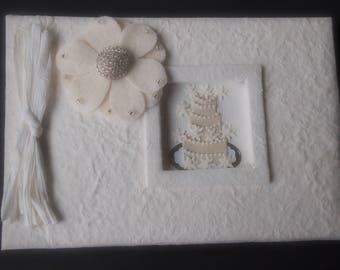 Wedding Guest Book Ivory Mum Choose Flower Color