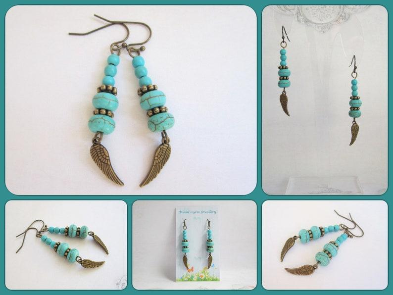 bronze tone #798   UK seller angel wings drop dangle earrings Turquoise Vintage style look BoHo look earrings