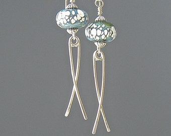 Handmade Glass Bead Earrings, Silver Wire Dangles, Teal and White Bead Earrings for Women, Gift for Her