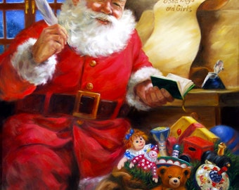 Amazing Santa's Good Boys & Girls Painting (Giclée) by Artist D. Arthur McBride (Stretched w/ 3 Children's Names)