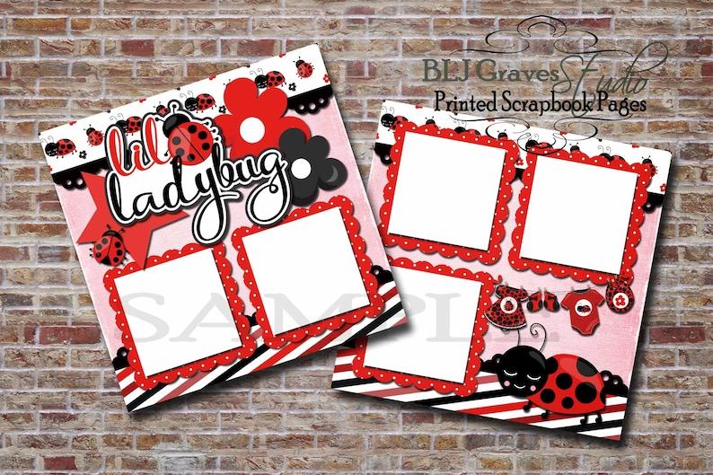 Little Ladybug Baby Girl Red Black   2 Premade PRINTED image 0