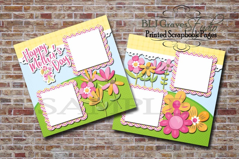 Mother's Day Pink Green Orange  2 Premade PRINTED 12x12 image 0