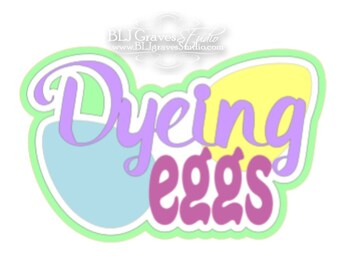 Premade Paper Piece Title Die Cut for Scrapbook Page Easter Dyeing Eggs Handmade 63