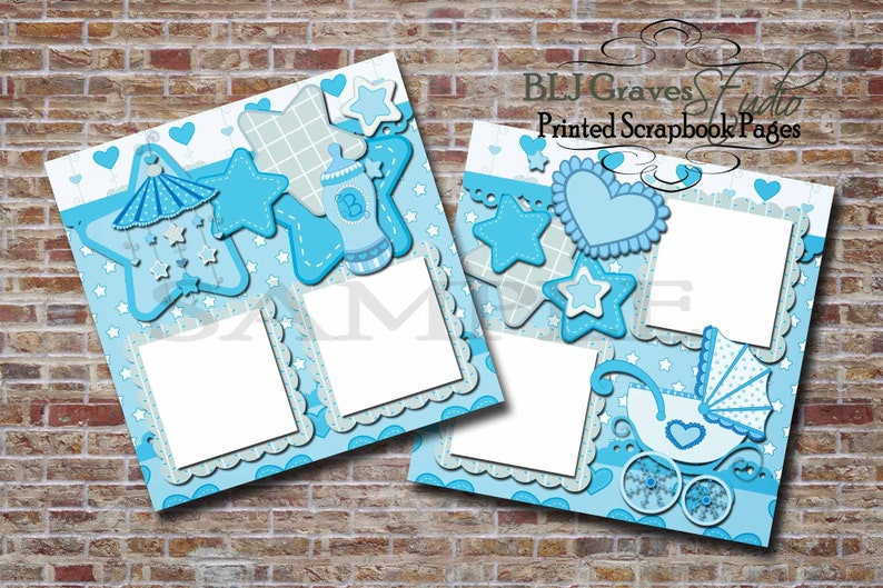 Baby Boy Baby Shower Blue  2 Premade PRINTED Scrapbook image 0