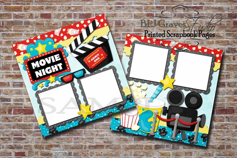 2 PRINTED 12x12 Premade Scrapbook Pages Movie Night Family image 0
