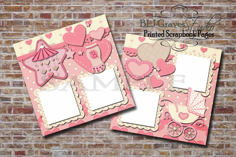 Baby Girl Baby Shower Pink Tan  2 Premade PRINTED image 0