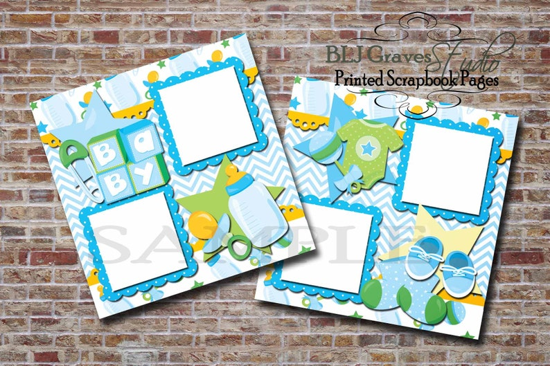 Baby Boy Baby Shower Blue Green 2 Premade PRINTED image 0