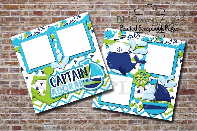 Captain Adorable Nautical Sailboat Whale Boy Blue Green image 0