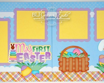 2 Premade Baby First Easter Scrapbook Pages 12x12 Layout Paper Piecing Handmade 5