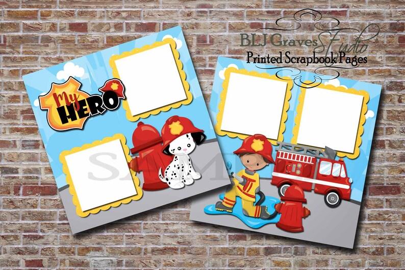 Firefigher Fireman Dalmatian  2 Premade PRINTED Scrapbook image 0