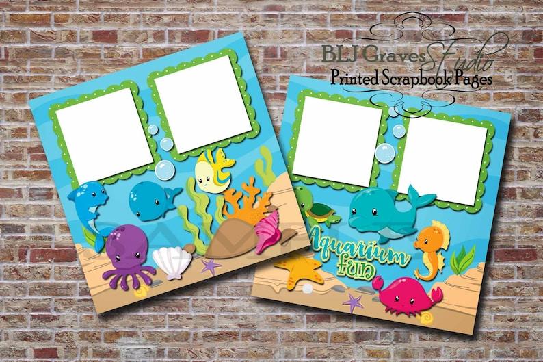 2 PRINTED 12x12 Premade Aquarium Ocean Sea Animals image 0
