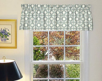 Grey Window Valance - Grey Window Curtains  - Grey Valances - Gigi Grey Window Valance 52 x 16 with Ruffled Top