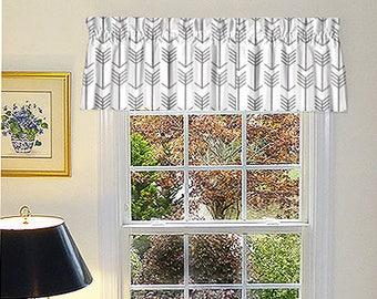 Grey Window Valance - Grey Window Curtains  - Grey Valances - Arrow White & Grey Window Valance 52 x 16 With Ruffled Top