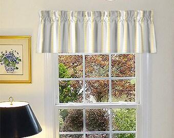 Grey Window Valance - Grey Window Curtains - Grey Valances - 52 x 16 - LuLu Grey & Yellow Window Valance with Ruffled Top