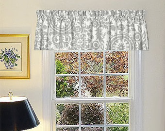 Made to Order Window Curtains, Grey Window Valance - Grey Window Curtains  - Grey Valances - Suzani White and Grey Window Valance 52 x 16