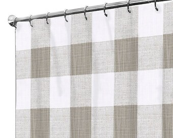 Shower Curtain Fabric Buffalo Check Farmhouse Bath Extra Long