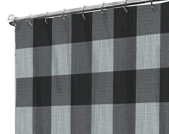 Shower Curtain Grey Extra Long Fabric Curtains Rustic Farmhouse Bathroom