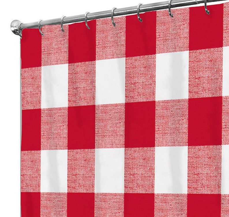 Shower Curtain Christmas Plaid Fabric Red