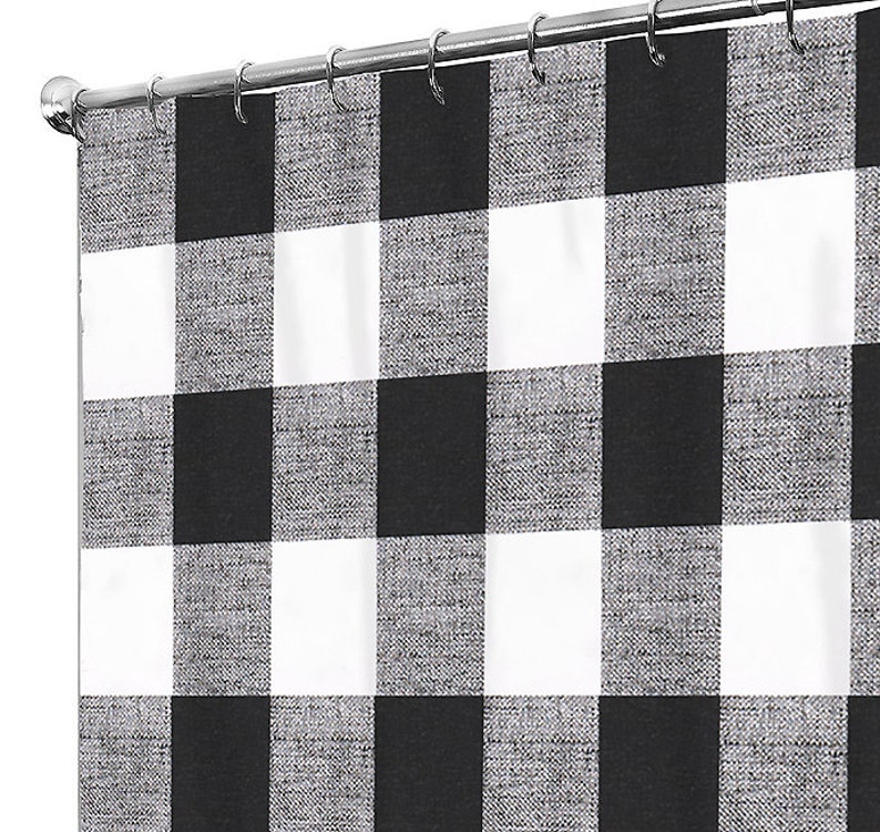 Black Shower Curtain Plaid Bath