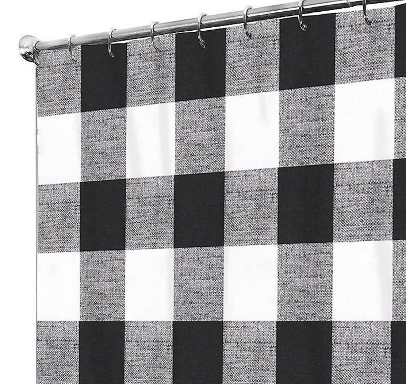 Black Shower Curtain Plaid Bath Guest Bathroom A