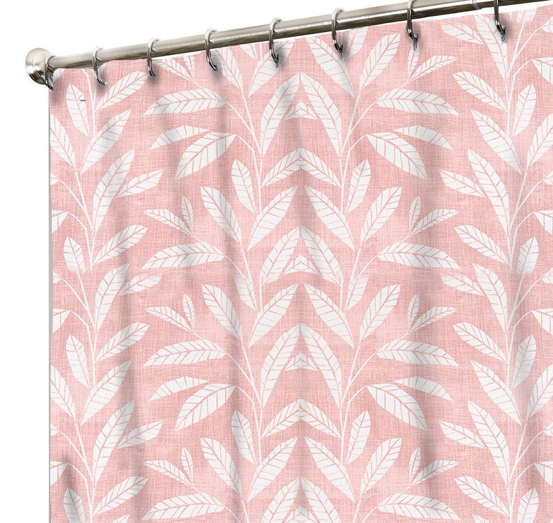 Blush Shower Curtain Tropical Bathroom Decor