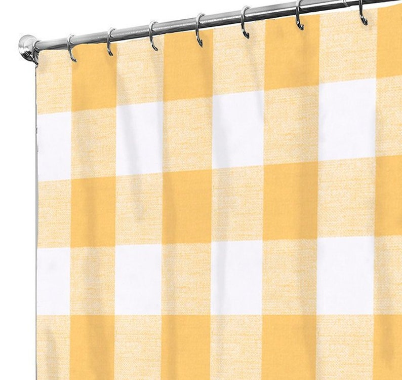 Shower Curtain Vintage Plaid Fabric Yellow Bath Guest